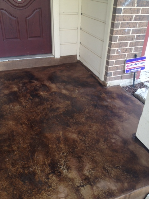 patio resurfaced & acid stained