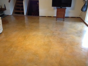 After The Concrete Was Cleaned, Stained, & Sealed