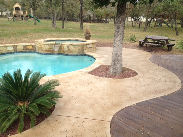 Stained Concrete Around Pool