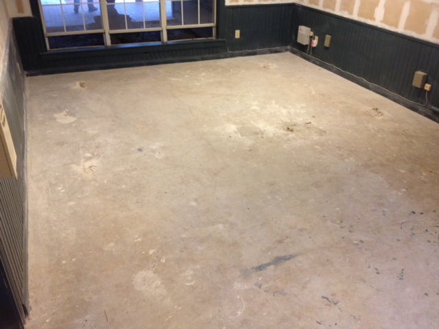 Concrete floor stained using a water based concrete stain for How to clean concrete floors before staining