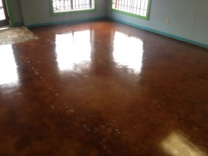 Stained Concrete After Removing VCT