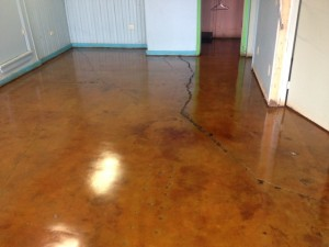 VCT Glue Removed & Concrete Stained