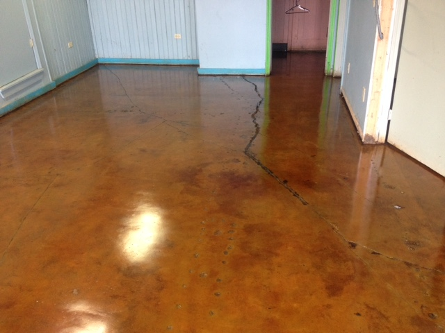 VCT Glue Removed Concrete Stained